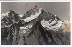 4192 Mettelhorn. Weisshorn 4512 m. vom Gornergrat aus